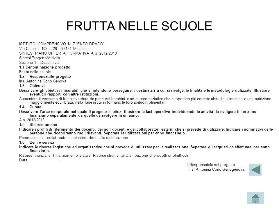 """FRUTTA NELLE SCUOLE ISTITUTO COMPRENSIVO N. 7 """"ENZO DRAGO"""" Via Catania, 103 n. 26 – 98124 Messina SINTESI PIANO OFFERTA FORMATIVA A.S. 2012/2013 Sinte"""