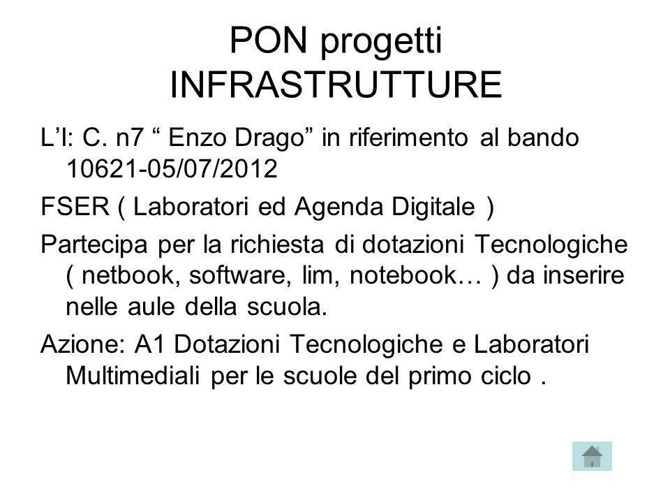 """PON progetti INFRASTRUTTURE L'I: C. n7 """" Enzo Drago"""" in riferimento al bando 10621-05/07/2012 FSER ( Laboratori ed Agenda Digitale ) Partecipa per la"""