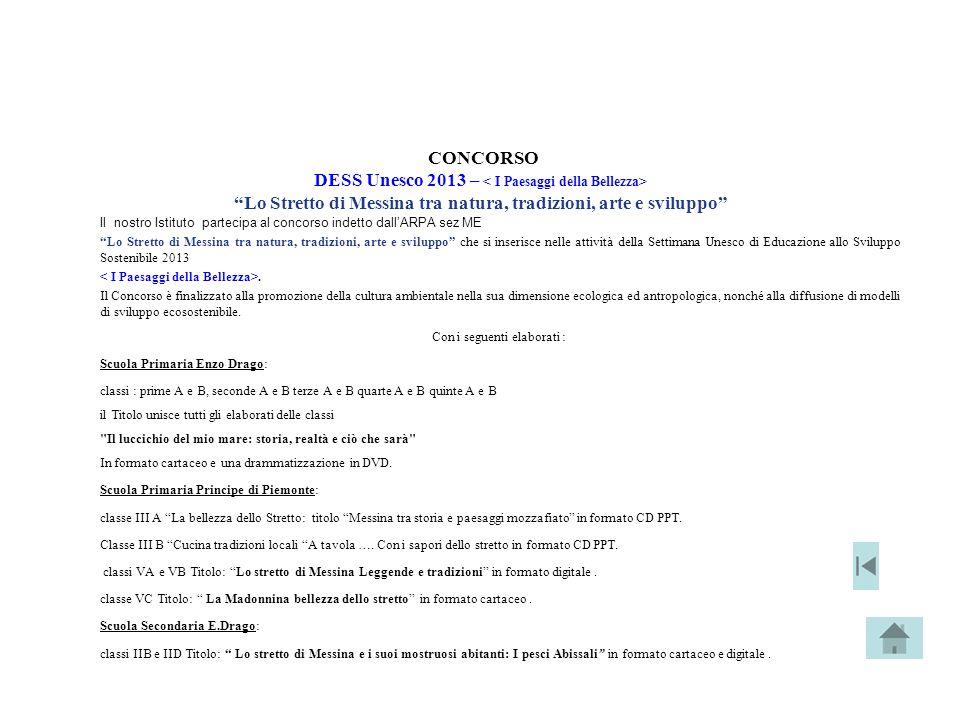 """CONCORSO DESS Unesco 2013 – """"Lo Stretto di Messina tra natura, tradizioni, arte e sviluppo"""" Il nostro Istituto partecipa al concorso indetto dall'ARPA"""