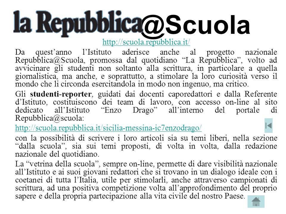 """@Scuola http://scuola.repubblica.it/ Da quest'anno l'Istituto aderisce anche al progetto nazionale Repubblica@Scuola, promossa dal quotidiano """"La Repu"""
