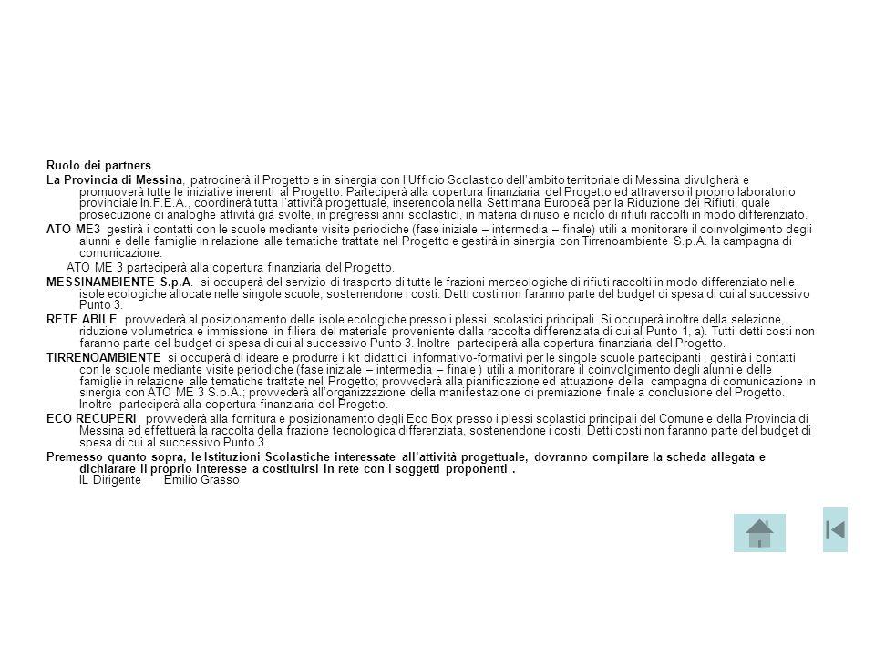 Ruolo dei partners La Provincia di Messina, patrocinerà il Progetto e in sinergia con l'Ufficio Scolastico dell'ambito territoriale di Messina divulgh