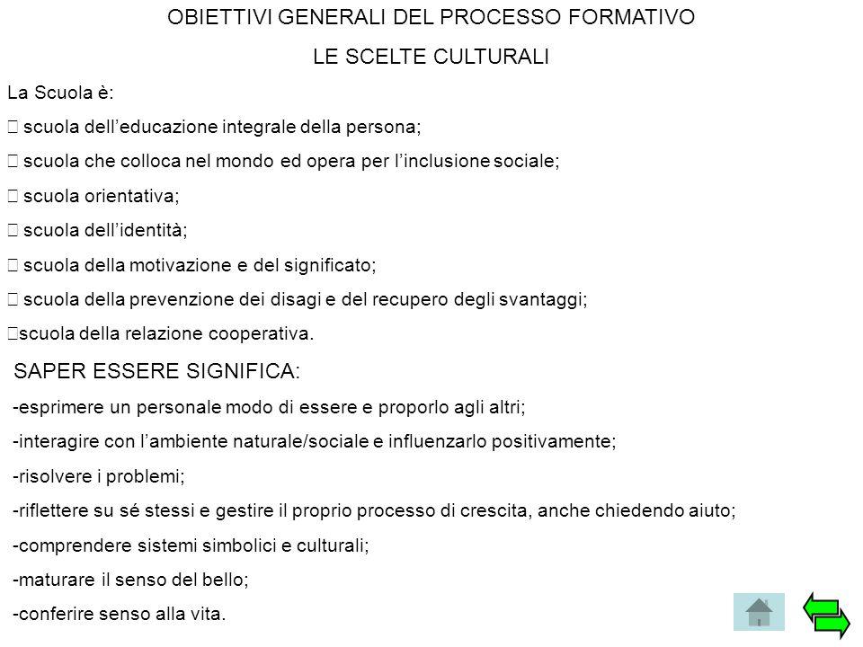 OBIETTIVI GENERALI DEL PROCESSO FORMATIVO LE SCELTE CULTURALI La Scuola è:  scuola dell'educazione integrale della persona;  scuola che colloca ne