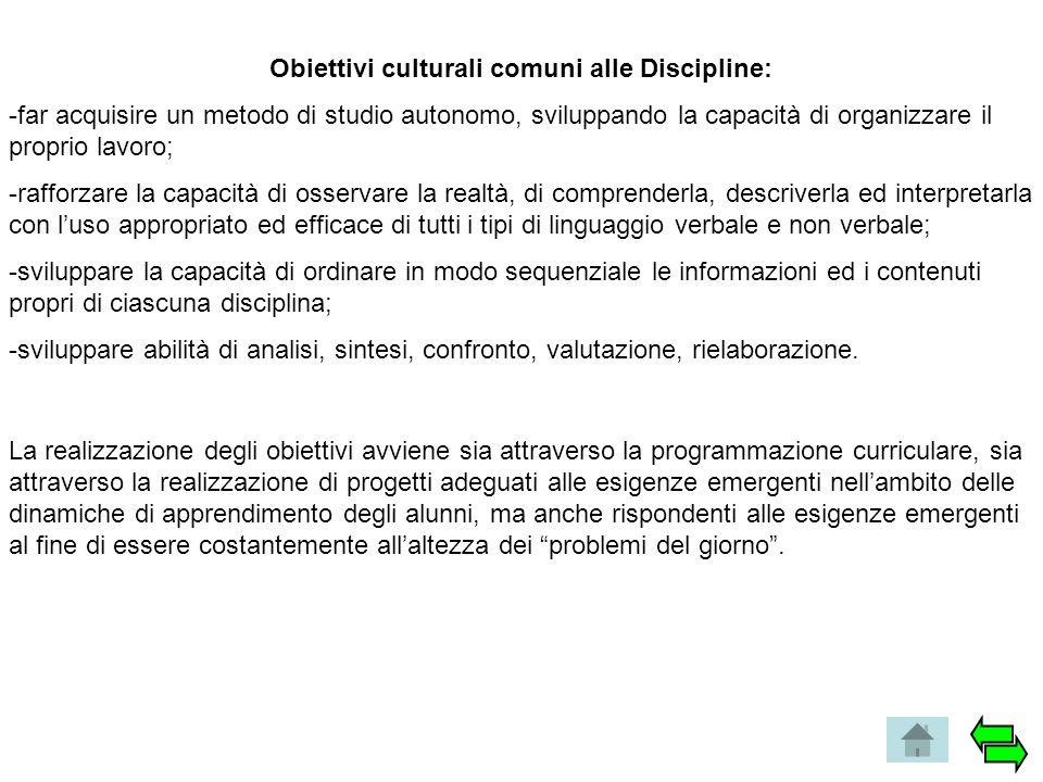 Obiettivi culturali comuni alle Discipline: -far acquisire un metodo di studio autonomo, sviluppando la capacità di organizzare il proprio lavoro; -ra