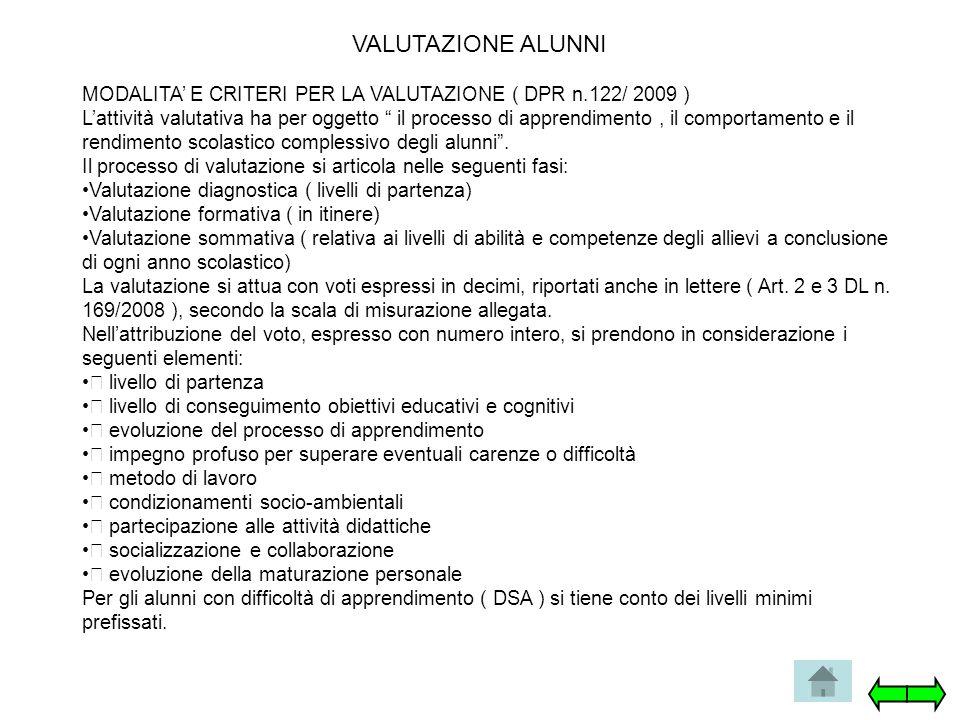 """VALUTAZIONE ALUNNI MODALITA' E CRITERI PER LA VALUTAZIONE ( DPR n.122/ 2009 ) L'attività valutativa ha per oggetto """" il processo di apprendimento, il"""