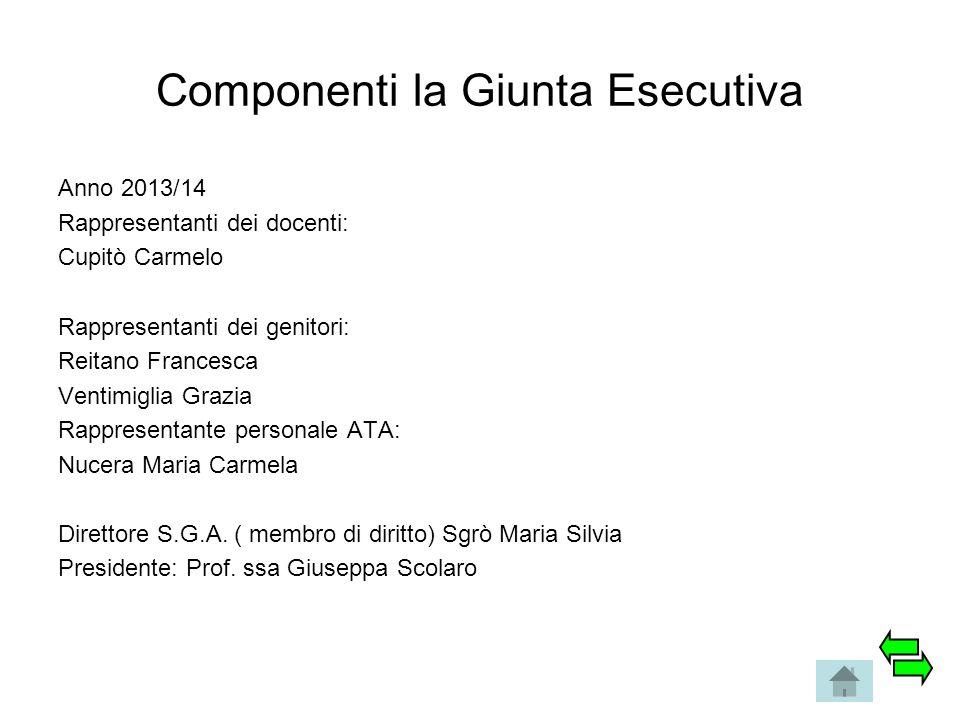 Componenti la Giunta Esecutiva Anno 2013/14 Rappresentanti dei docenti: Cupitò Carmelo Rappresentanti dei genitori: Reitano Francesca Ventimiglia Graz