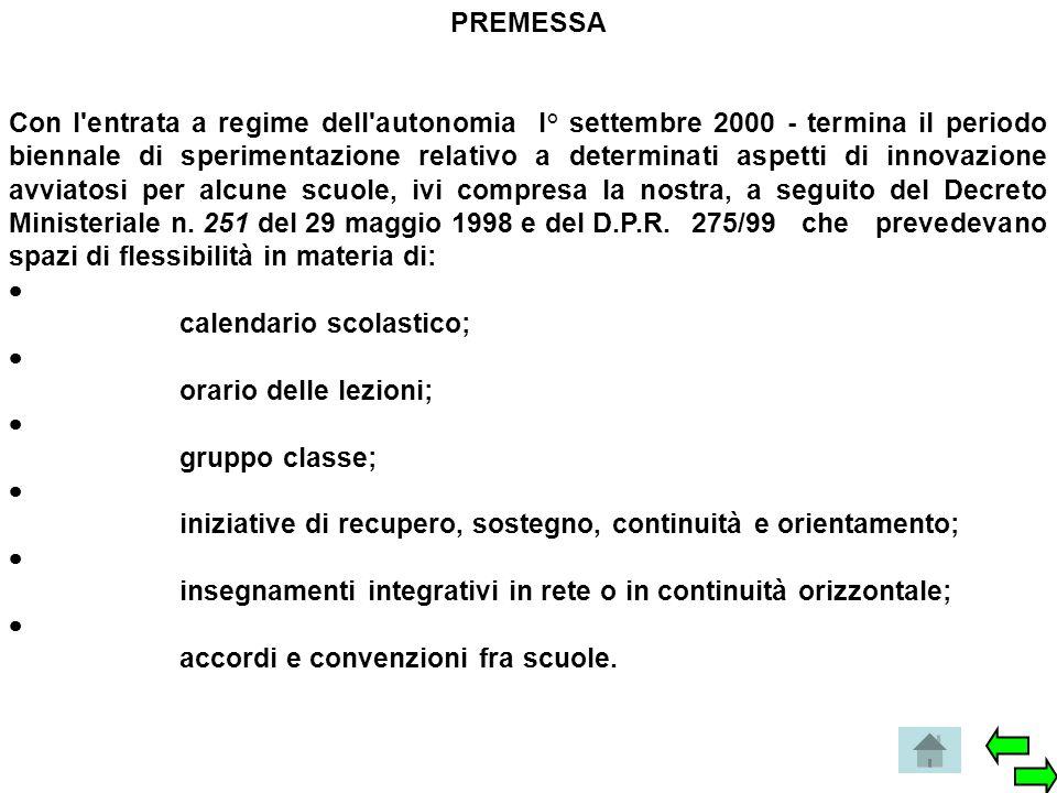 PREMESSA Con l'entrata a regime dell'autonomia l° settembre 2000 - termina il periodo biennale di sperimentazione relativo a determinati aspetti di in