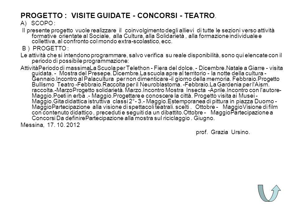 PROGETTO : VISITE GUIDATE - CONCORSI - TEATRO. A) SCOPO : Il presente progetto vuole realizzare il coinvolgimento degli allievi di tutte le sezioni ve