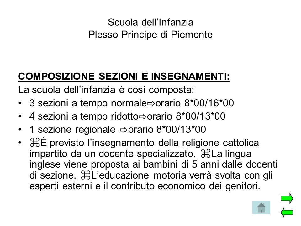 Scuola dell'Infanzia Plesso Principe di Piemonte COMPOSIZIONE SEZIONI E INSEGNAMENTI: La scuola dell'infanzia è così composta: 3 sezioni a tempo norma
