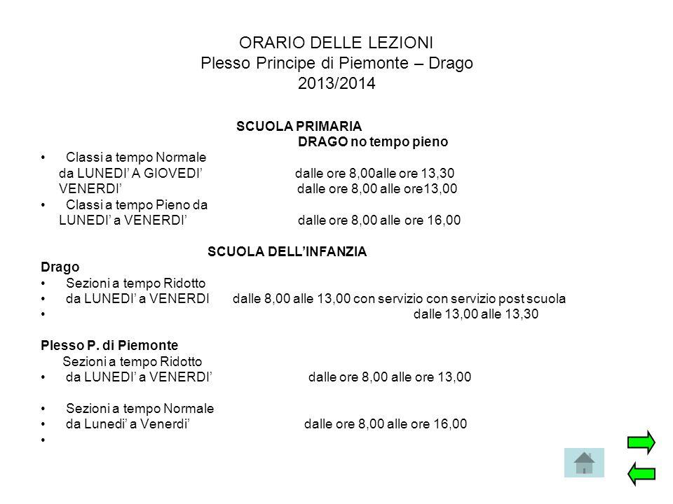 ORARIO DELLE LEZIONI Plesso Principe di Piemonte – Drago 2013/2014 SCUOLA PRIMARIA DRAGO no tempo pieno Classi a tempo Normale da LUNEDI' A GIOVEDI' d