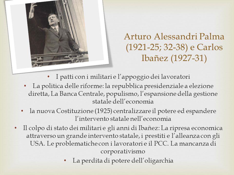 Arturo Alessandri Palma (1921-25; 32-38) e Carlos Ibañez (1927-31) I patti con i militari e l'appoggio dei lavoratori La politica delle riforme: la re