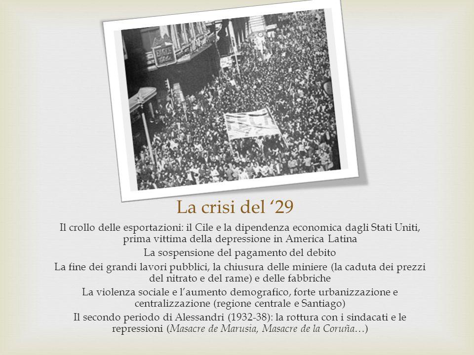 La crisi del '29 Il crollo delle esportazioni: il Cile e la dipendenza economica dagli Stati Uniti, prima vittima della depressione in America Latina