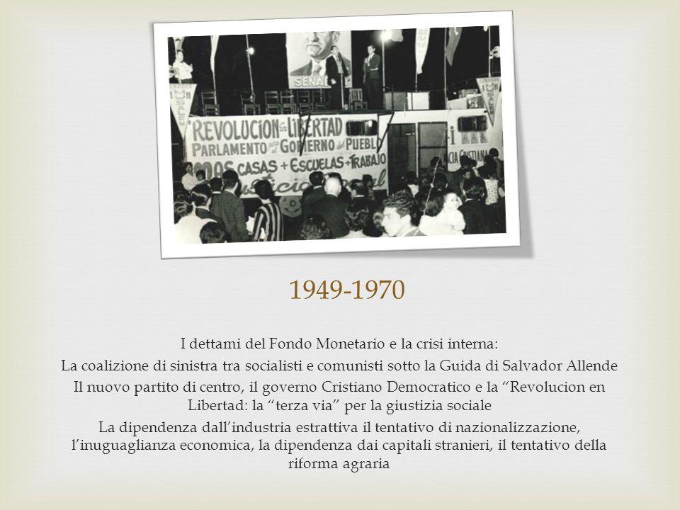 1949-1970 I dettami del Fondo Monetario e la crisi interna: La coalizione di sinistra tra socialisti e comunisti sotto la Guida di Salvador Allende Il