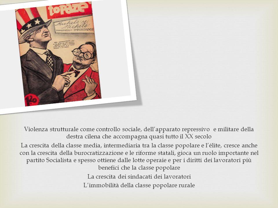 Violenza strutturale come controllo sociale, dell'apparato repressivo e militare della destra cilena che accompagna quasi tutto il XX secolo La cresci