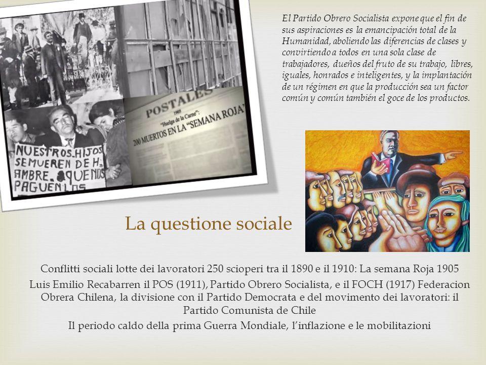 La questione sociale Conflitti sociali lotte dei lavoratori 250 scioperi tra il 1890 e il 1910: La semana Roja 1905 Luis Emilio Recabarren il POS (191