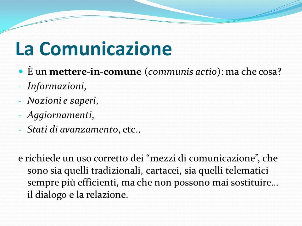 La Comunicazione È un mettere-in-comune (communis actio): ma che cosa? - Informazioni, - Nozioni e saperi, - Aggiornamenti, - Stati di avanzamento, et