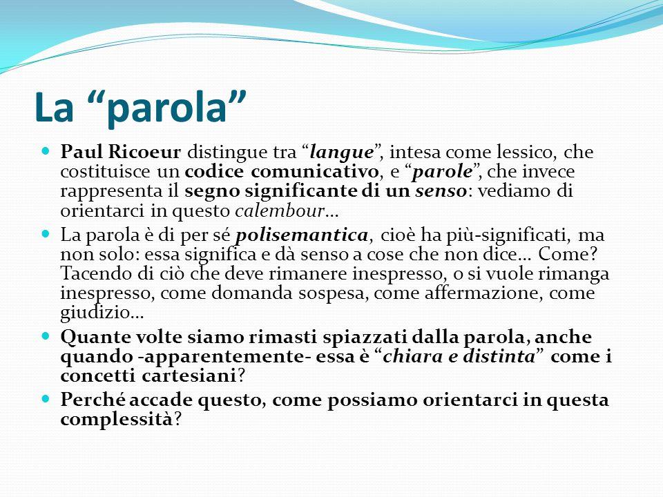"""La """"parola"""" Paul Ricoeur distingue tra """"langue"""", intesa come lessico, che costituisce un codice comunicativo, e """"parole"""", che invece rappresenta il se"""