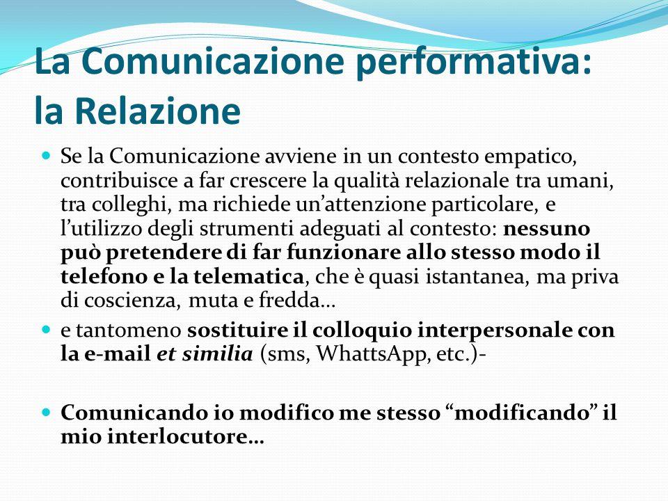 La Comunicazione performativa: la Relazione Se la Comunicazione avviene in un contesto empatico, contribuisce a far crescere la qualità relazionale tr