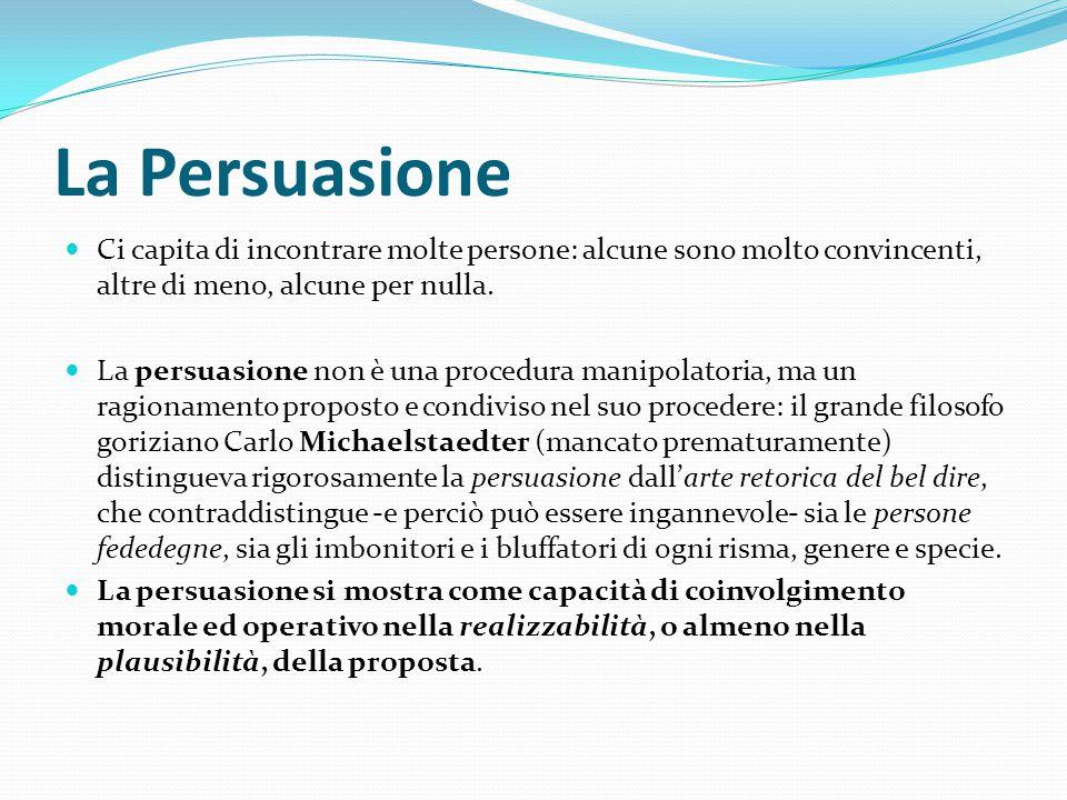 La Persuasione Ci capita di incontrare molte persone: alcune sono molto convincenti, altre di meno, alcune per nulla. La persuasione non è una procedu