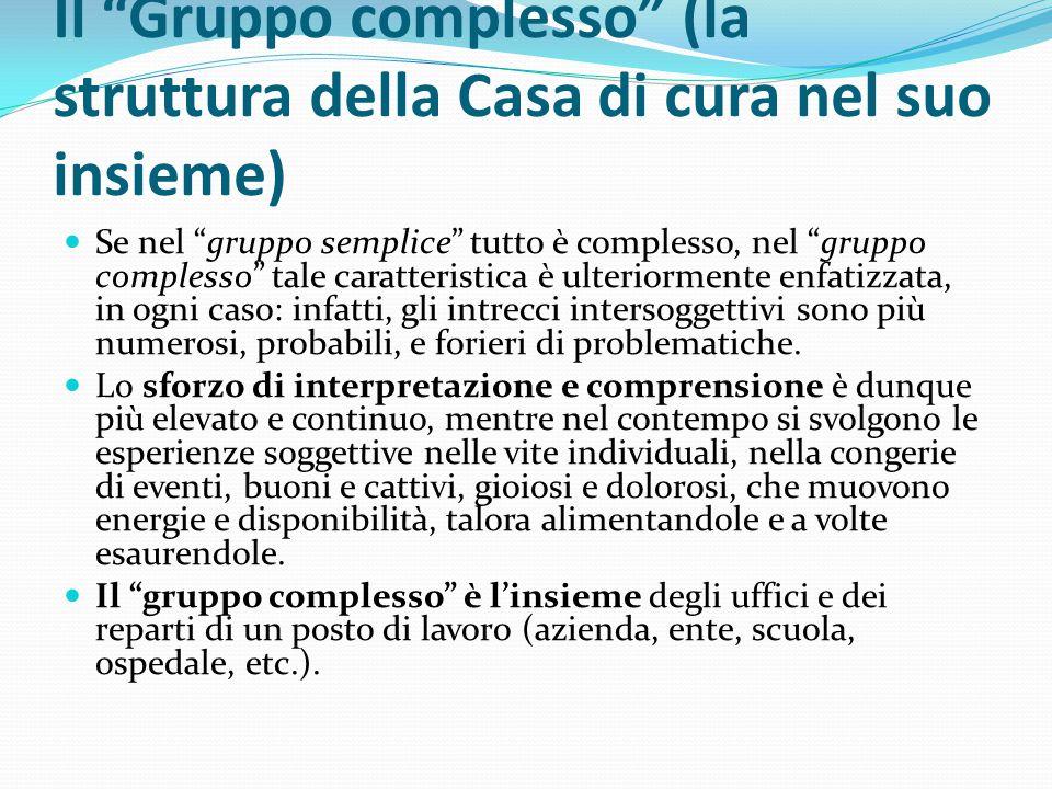 """Il """"Gruppo complesso"""" (la struttura della Casa di cura nel suo insieme) Se nel """"gruppo semplice"""" tutto è complesso, nel """"gruppo complesso"""" tale caratt"""