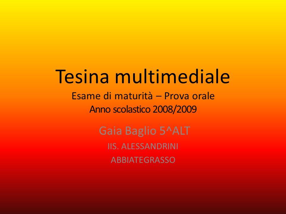 Tesina multimediale Esame di maturità – Prova orale Anno scolastico 2008/2009 Gaia Baglio 5^ALT IIS.