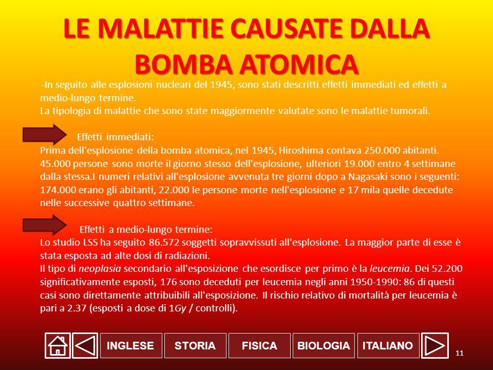 INGLESESTORIABIOLOGIAITALIANOFISICA LE MALATTIE CAUSATE DALLA BOMBA ATOMICA -In seguito alle esplosioni nucleari del 1945, sono stati descritti effetti immediati ed effetti a medio-lungo termine.