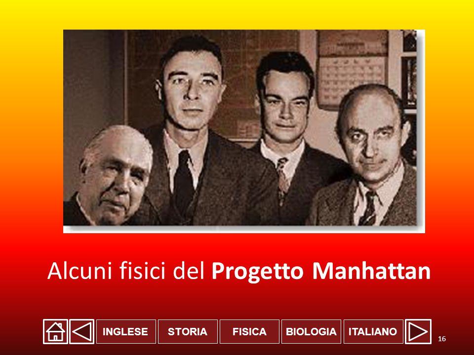 INGLESESTORIABIOLOGIAITALIANOFISICA Alcuni fisici del Progetto Manhattan 16