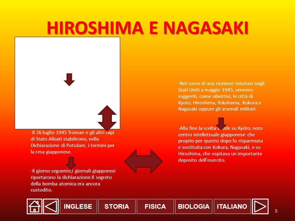INGLESESTORIABIOLOGIAITALIANOFISICA HIROSHIMA E NAGASAKI -Il Presidente degli Stati Uniti d'America Harry S.Truman, che venne a conoscenza dell esistenza del Progetto Manhattan decise di utilizzare la nuova bomba sul Giappone.