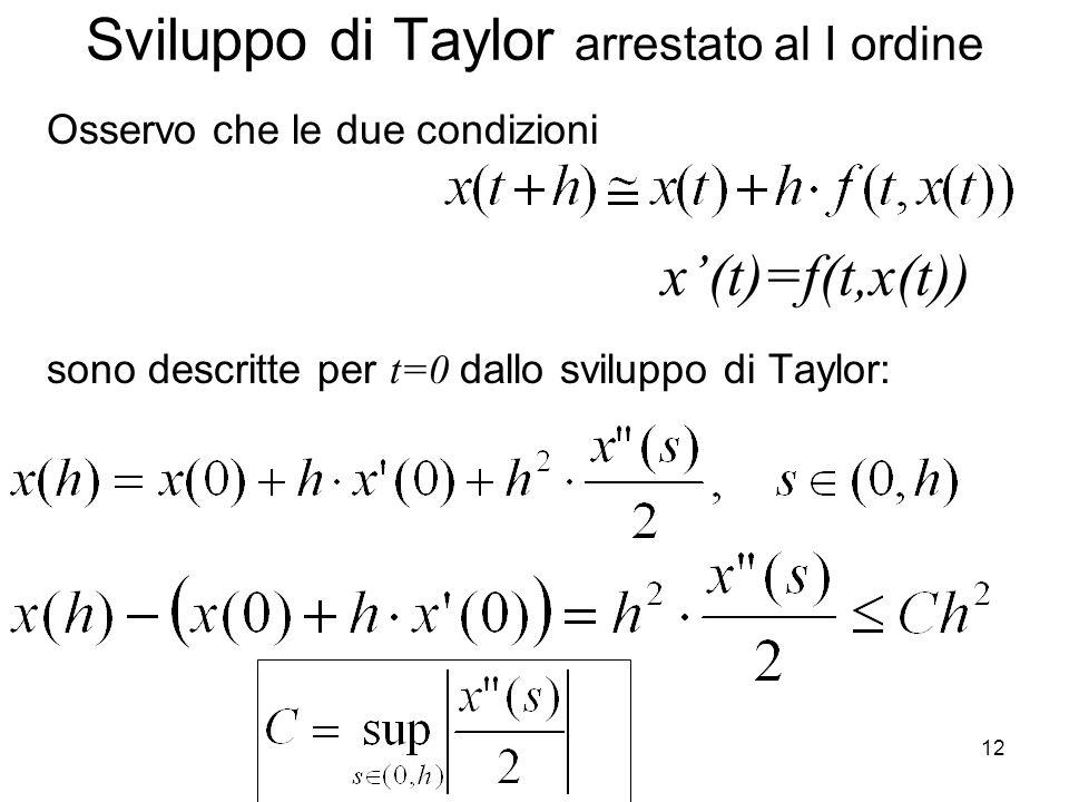 12 Sviluppo di Taylor arrestato al I ordine Osservo che le due condizioni sono descritte per t=0 dallo sviluppo di Taylor: x'(t)=f(t,x(t))