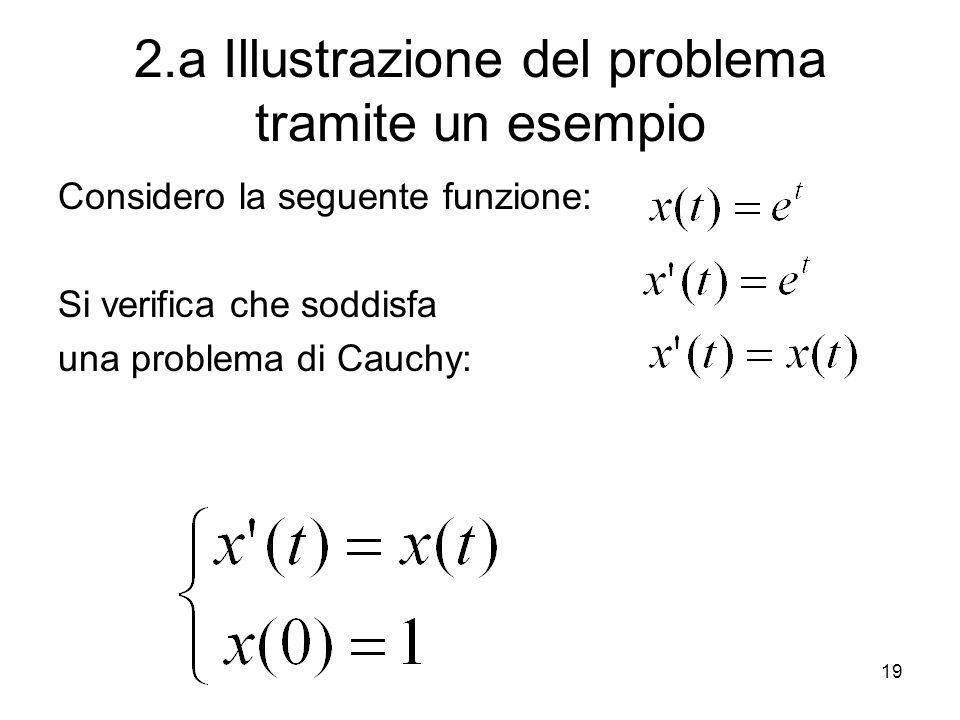 19 2.a Illustrazione del problema tramite un esempio Considero la seguente funzione: Si verifica che soddisfa una problema di Cauchy: