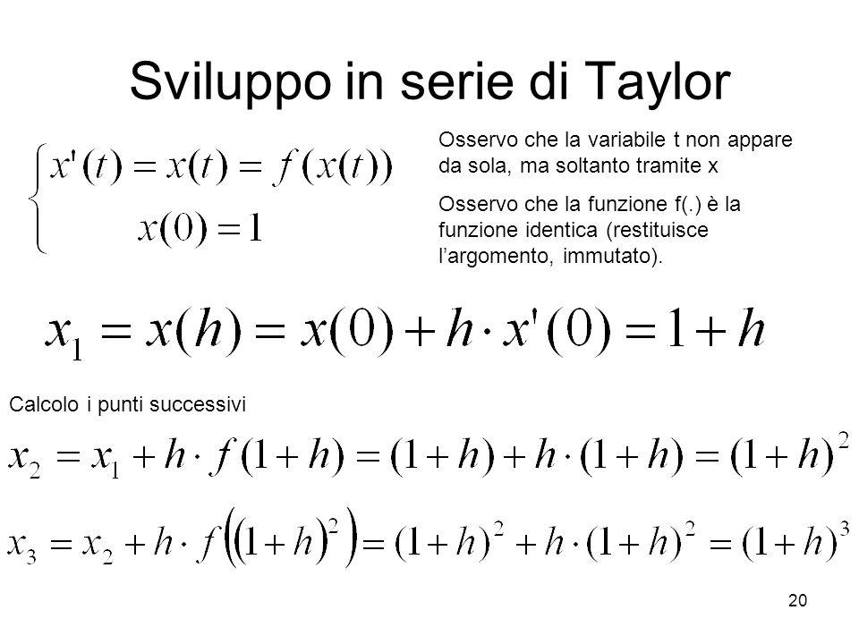 20 Sviluppo in serie di Taylor Calcolo i punti successivi Osservo che la variabile t non appare da sola, ma soltanto tramite x Osservo che la funzione