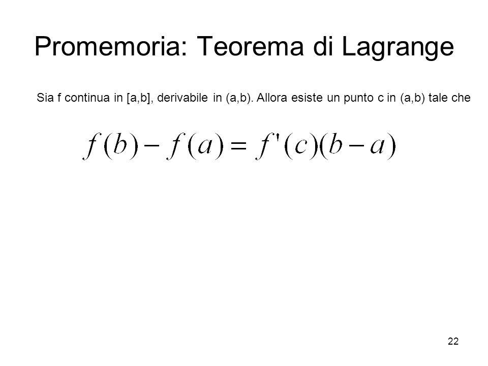 22 Promemoria: Teorema di Lagrange Sia f continua in [a,b], derivabile in (a,b). Allora esiste un punto c in (a,b) tale che