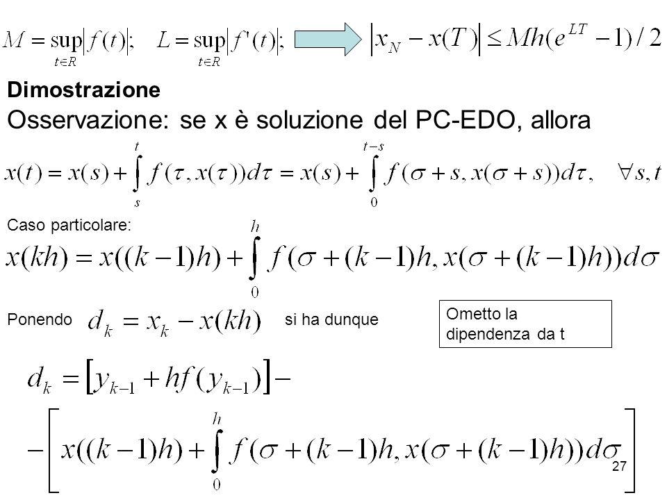 27 Dimostrazione Osservazione: se x è soluzione del PC-EDO, allora Ponendosi ha dunque Caso particolare: Ometto la dipendenza da t