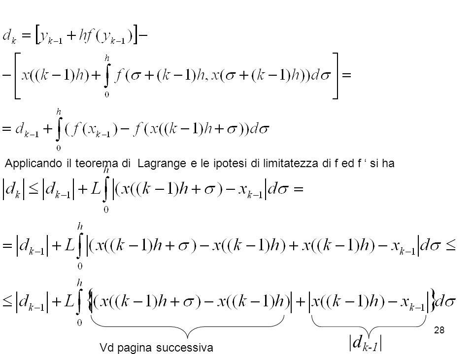 29 Osservazione: per t=(k-1)h+  e s=(k-1)h l'equazione diventa Pertanto Iterando questa relazione 'all'indietro' fino a k=0 e ricordando che d 0 =x(0)-y 0 =0 si trova: Ipotesi di limitatezza