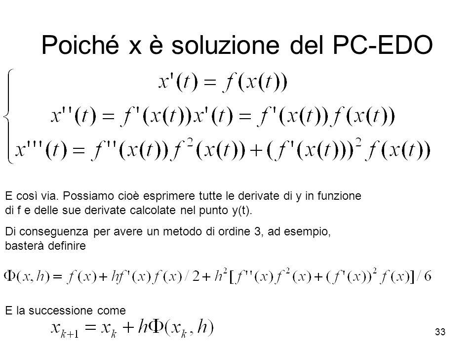 33 Poiché x è soluzione del PC-EDO E così via. Possiamo cioè esprimere tutte le derivate di y in funzione di f e delle sue derivate calcolate nel punt