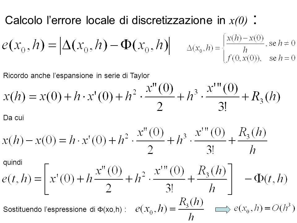 34 Calcolo l'errore locale di discretizzazione in x(0) : Ricordo anche l'espansione in serie di Taylor Da cui Sostituendo l'espressione di  (xo,h) :