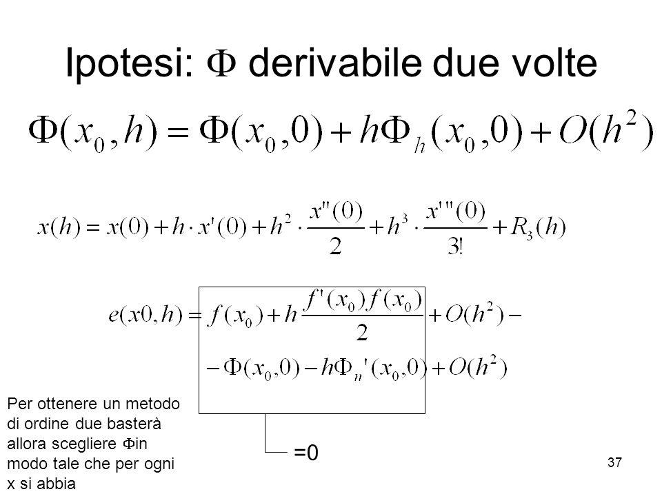 37 Ipotesi:  derivabile due volte Per ottenere un metodo di ordine due basterà allora scegliere  in modo tale che per ogni x si abbia =0