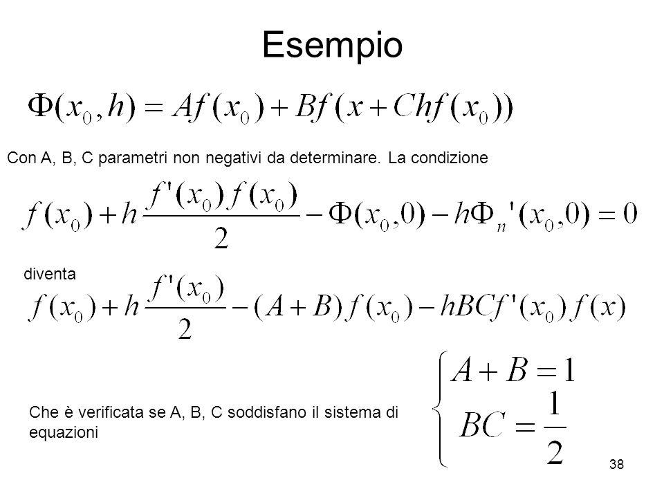 38 Esempio Con A, B, C parametri non negativi da determinare. La condizione diventa Che è verificata se A, B, C soddisfano il sistema di equazioni