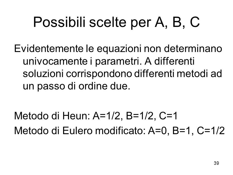 39 Possibili scelte per A, B, C Evidentemente le equazioni non determinano univocamente i parametri. A differenti soluzioni corrispondono differenti m