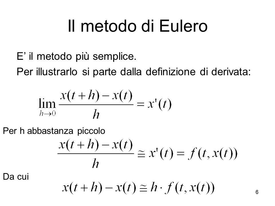 6 Il metodo di Eulero E' il metodo più semplice. Per illustrarlo si parte dalla definizione di derivata: Per h abbastanza piccolo Da cui