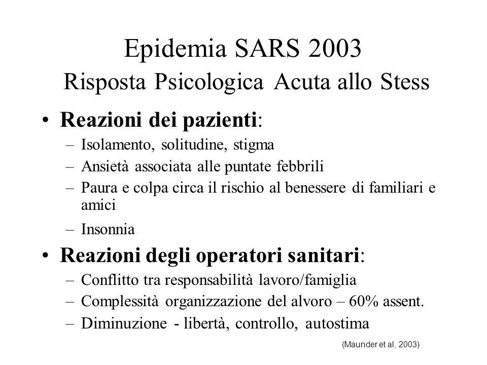 Epidemia SARS 2003 Risposta Psicologica Acuta allo Stess Reazioni dei pazienti: –Isolamento, solitudine, stigma –Ansietà associata alle puntate febbri