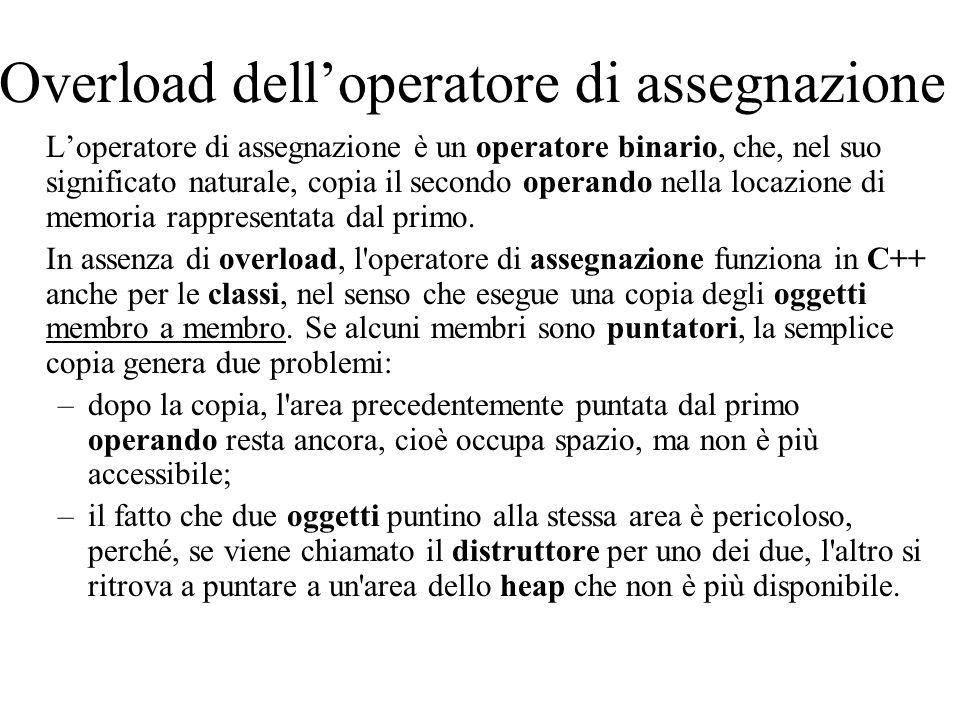 Overload dell'operatore di assegnazione L'operatore di assegnazione è un operatore binario, che, nel suo significato naturale, copia il secondo operando nella locazione di memoria rappresentata dal primo.