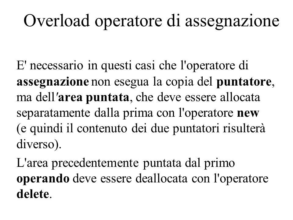 Overload operatore di assegnazione E necessario in questi casi che l operatore di assegnazione non esegua la copia del puntatore, ma dell area puntata, che deve essere allocata separatamente dalla prima con l operatore new (e quindi il contenuto dei due puntatori risulterà diverso).
