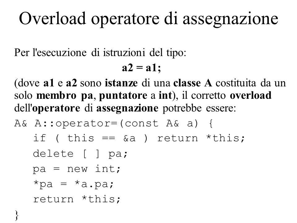 Overload operatore di assegnazione Per l esecuzione di istruzioni del tipo: a2 = a1; (dove a1 e a2 sono istanze di una classe A costituita da un solo membro pa, puntatore a int), il corretto overload dell operatore di assegnazione potrebbe essere: A& A::operator=(const A& a) { if ( this == &a ) return *this; delete [ ] pa; pa = new int; *pa = *a.pa; return *this; }