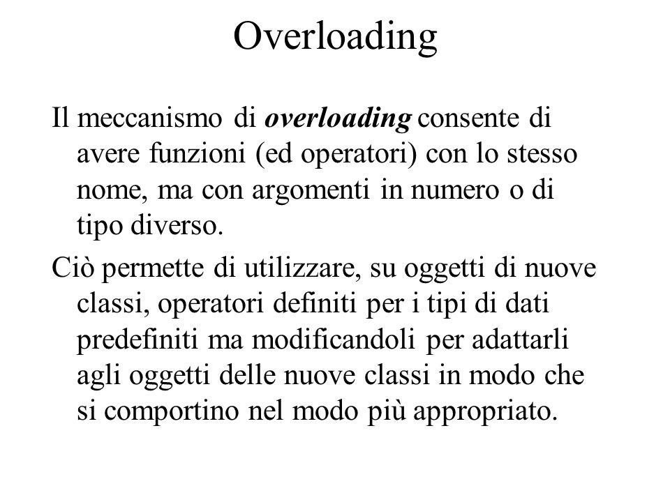 Overloading Il meccanismo di overloading consente di avere funzioni (ed operatori) con lo stesso nome, ma con argomenti in numero o di tipo diverso.