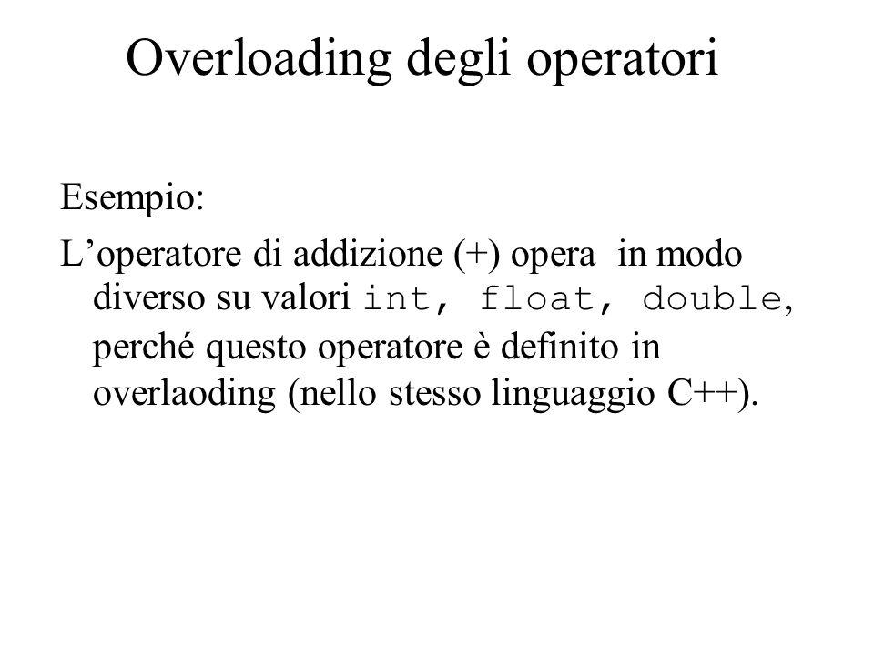Overloading degli operatori Esempio: L'operatore di addizione (+) opera in modo diverso su valori int, float, double, perché questo operatore è definito in overlaoding (nello stesso linguaggio C++).