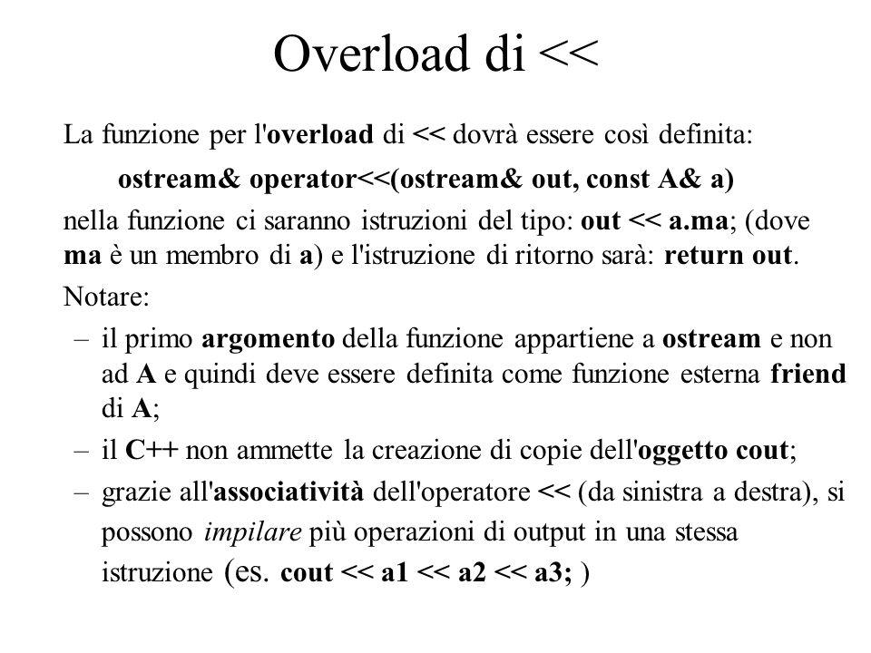 Overload di >> Analogamente, si può definire un overload dell operatore di estrazione >> per le operazioni di input (del tipo, per esempio, cin >> a;), tramite la funzione: istream& operator>>( istream& inp, A& a) dove istream è la classe di flusso di input (anch essa dichiarata in ), a cui appartiene l oggetto globale cin.