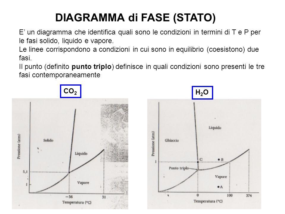 DIAGRAMMA di FASE (STATO) E' un diagramma che identifica quali sono le condizioni in termini di T e P per le fasi solido, liquido e vapore. Le linee c