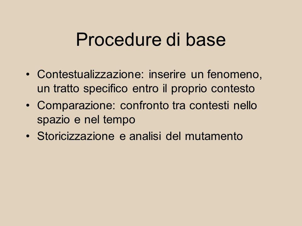 Procedure di base Contestualizzazione: inserire un fenomeno, un tratto specifico entro il proprio contesto Comparazione: confronto tra contesti nello