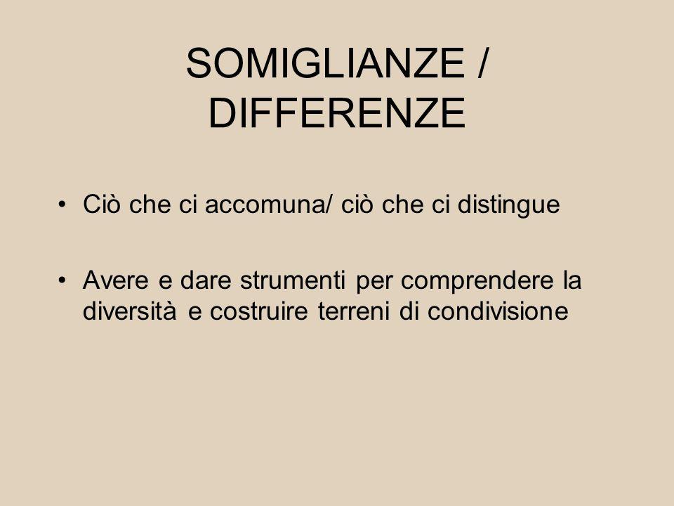 SOMIGLIANZE / DIFFERENZE Ciò che ci accomuna/ ciò che ci distingue Avere e dare strumenti per comprendere la diversità e costruire terreni di condivis