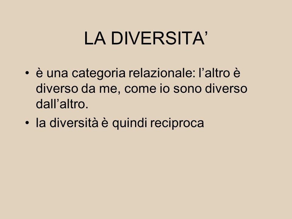 LA DIVERSITA' è una categoria relazionale: l'altro è diverso da me, come io sono diverso dall'altro. la diversità è quindi reciproca